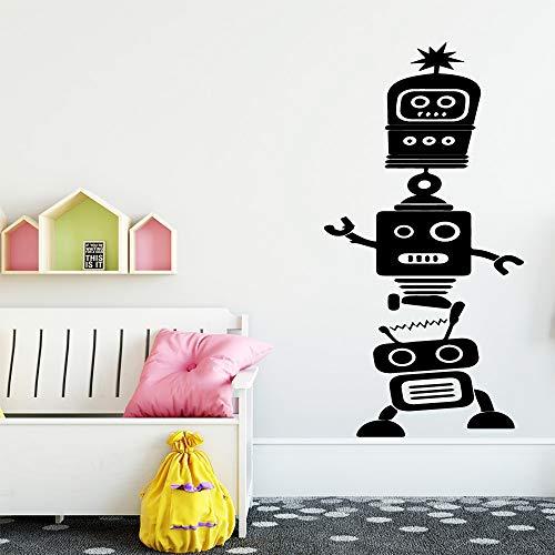 BailongXiao Fun Roboter Wandaufkleber Art Deco Wohnzimmer Dekoration Jungen Wandbild Schlafzimmer Dekoration Kinderzimmer Dekoration 54x106cm