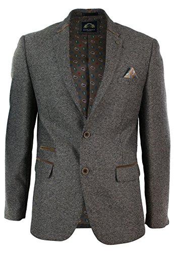 marc darcy Herrensakko Tweed Fischgräte Design Grau Braun Eng Tailliert Lässig Designer -