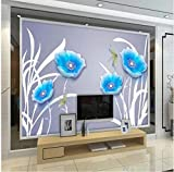 YFXGSTLI Murales de Pared Papel de Pared Azul Papel de Pared Mural Rollo de Papel para Sala de Estar Muro de Papel Decorativo Mural 3D Personalizado 1㎡