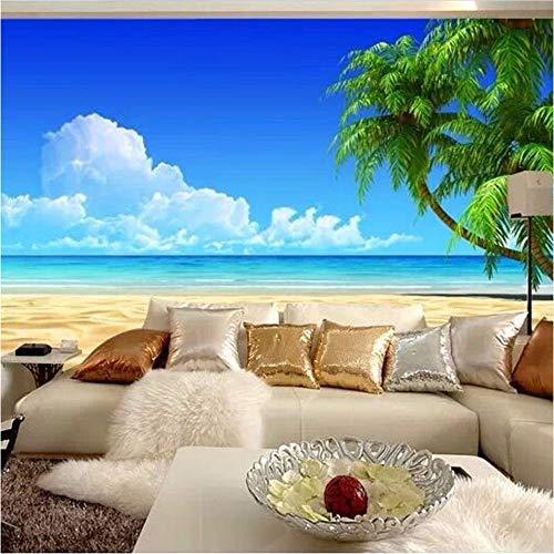 Qwerlp 3D Wallpaper Moderne Einfache Strand Blauer Himmel Kokospalme Foto Wandbild Hotel Esszimmer Wohnzimmer Tv Hintergrund Dekor Fresken-130Cmx98Cm