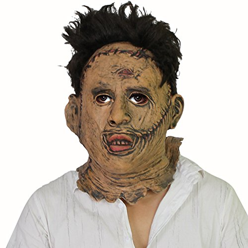 Leatherface Kostüm Realistische - The Texas Chainsaw Massacre Thomas Leatherface Maske - perfekt für Fasching, Karneval & Halloween - Kostüm für Erwachsene - Latex, Unisex Einheitsgröße