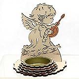 Dekohelden24 Wunderschöner Holz-Teelichthalter, Motiv: Engel mit Gitarre, ca. 10,5 cm