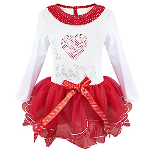 iEFiEL Baby Mädchen Weihnachten Kleid Weihnachtskostüm Baby Kleider Weihnachtskleid Festliche Kleidung, Rot + Weiß, 116-122 (Herstellergröße: (Kinder Kleider Für Santa)