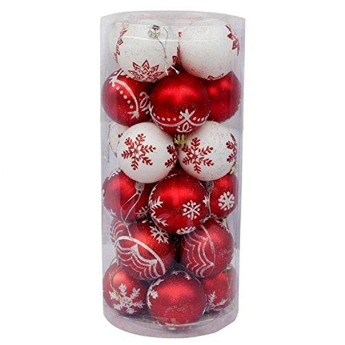 Toifucos 24 pcs colorato verniciato palla di natale, albero di natale palla di ornamenti per natale nozze partito decorazione (2.36 pollici / 60mm), rosso bianco