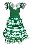 La Senorita Vestido Flamenco Español Traje de Flamenca chica/niños verde blanco (Talla 12, 140-146...