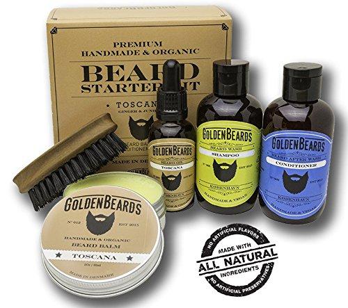 Kit cuidado barba - Aceites Cuidado de Barba Kit - 100% Productos Orgánicos Y realizados a Mano - 1 Caja de Regalo que contiene:1 Champú & Acondicionador ,1 Aceite 1 Bálsamo y un Peine de viaje de máxima calidad. Juego de Regalo perfecto para hombres, Olor a Ginger y Junípero (Olor especial/Seca) -Toscana - por Golden Beards