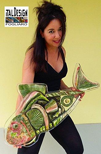 ARREDARE CON ARTE mosaico PESCE ARREDAMENTO DA PARETE OPERA D' ARTE MODERNA FIRMATA ITALDESIGNFOGLIARO