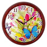 Dasmya Creations Garden Butterfly 12 inch Brown Body Glass Front Wall Clock