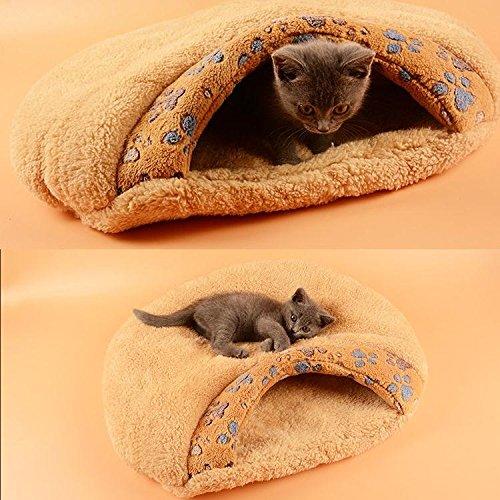 Pecute weiche warme Katzenhöhle Katzebett Schlaftasche Hundebett Haus-Welpen Schlafen Mat Schlafsack kurze Plüsch Braun - 4