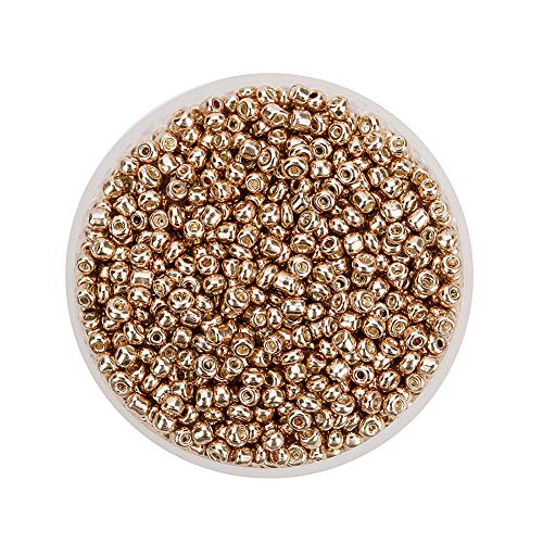 MoGist 2000pcs 2mm Mini Mode Glänzend Glasperlen Perlen für Schmuckherstellung Jewellery Making Kinder DIY Armband Art Perlen Zum Auffädeln Kreuzstich Bekleidungszubehör (Helles Gold) (Gold Eine Fügen Sie Perlen-halskette)