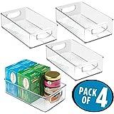 mDesign cesta organizadora ideal para almacenar sus cosas para el hogar - Caja multiusos en color transparente y con asas para el transporte - Juego de 4 cajas