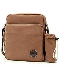 Wushiyan Men s shoulder bag Men s 2 In 1 Bag Set Men s Shoulder Bag  Diagonal Men s Bag Canvas Casual Multi-function Messenger Bag… f8c4adbc08b54