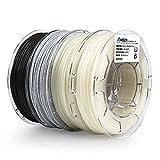 AMOLEN Imprimante 3D Filament PLA 1.75mm, Glow in the Dark Bleu et Vert, Changement de 3 Couleurs par Température, Marbre, 3x200g et 1x225g, comprend des échantillons de Filaments Bois et Bronze