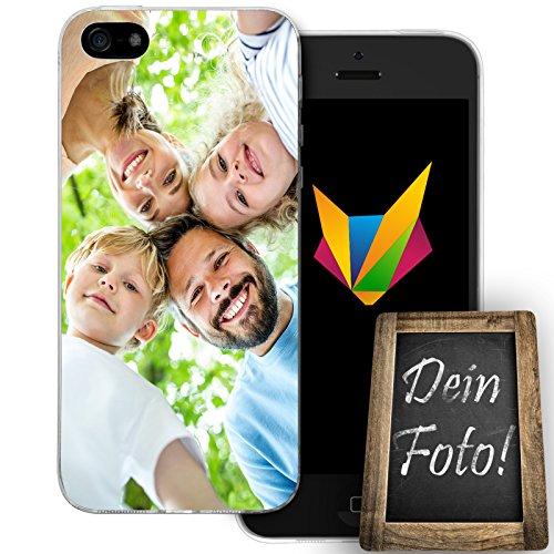 Mobilefox Eigenes Foto transparente Silikon TPU Schutzhülle 0,7mm dünne Handy Soft Case für Apple iPhone 5/5S/SE individuelles Motiv - Cover Gel Hülle (Foto Iphone 5s Case)