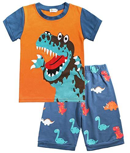 Tarkis Jungen Baumwolle Schlafanzug Kurzarm- Pyjama, 06 Blau (Dinosaurier), Gr.-92 (Herstellergröße: 90)