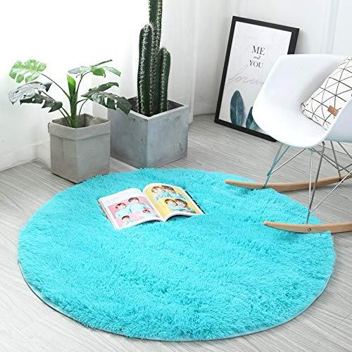 Xinyukeji ,tappeto rotondo tappeto peloso, morbido e antiscivolo, a pelo lungo, per salotto, tavolino salotto, camera da letto, computer, sedia, super morbido, antiscivolo(royal blue, 100_x_100_cm)