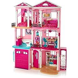Barbie Mobilier Grande Maison de poupée de rêve, à 3 étages et 7 pièces dont cuisine, chambre, salle de bain et accessoires, jouet pour enfant, FFY84