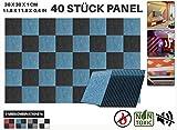 Acepunch Polyesterfaser Akustikschaumstoff Dämmung Absorptionsplatte BLAU UND SCHWARZ 40 Stücke AP1093
