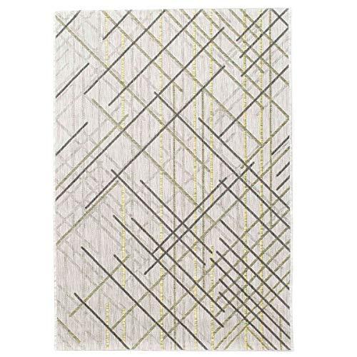 havatex Outdoor-Teppich Jack Streifen - Grau mit Akzenten in Grün Gelb | Design Striche modern | Indoor & Outdoor | für Terrasse Balkon Wintergarten Wohnzimmer, Farbe:Grau, Größe:120 x 170 cm -