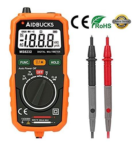 Multímetro Digital Profesional Aidbucks MS8232 Voltimetro Amperimetro Polimetro Tester Electrico de bolsillo Autorango con Medidor de Baterias DC / AC Voltaje de Corriente con Resistencia Multi Tester ohmímetro con retroiluminación LCD