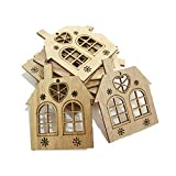 NiceButy 10pcs / set Christmas ornaments hanging wooden Christmas house decoration wooden hollow laser small house cut Christmas tree hanging label pendant Christmas decoration decoration