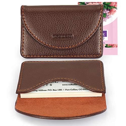YOBANSA Visitenkartenetui aus Leder, Brieftasche, Kreditkarten, Geschäftskartenhalter, Visitenkartenetui mit Magnetschnalle für Männer und Frauen (Kaffee) - Frauen Kreditkarte Brieftaschen