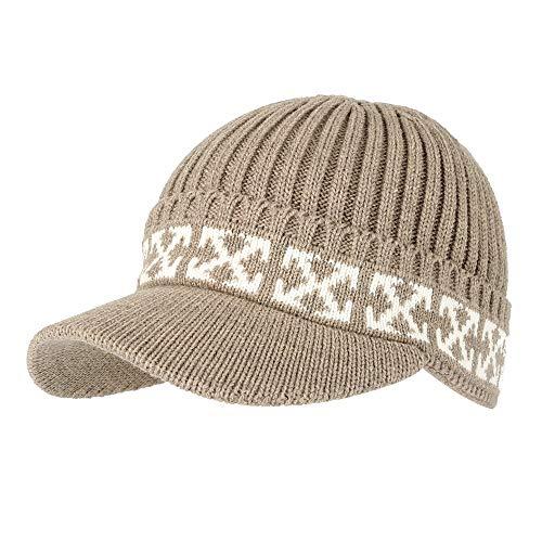 WITHMOONS Strickmützen Seemannsmütze Winter Knit Visor Beanie Hat Baseball Watch Cap CRQ1102 (Brown)