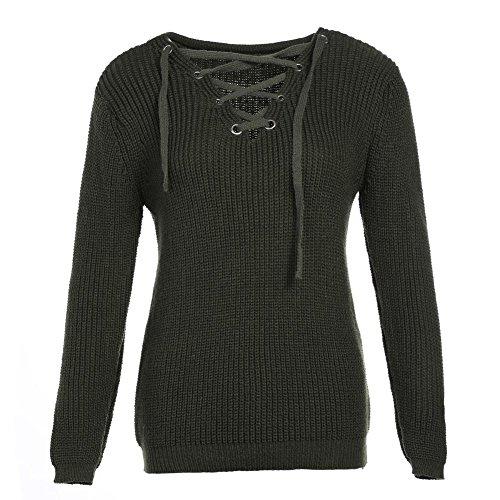 Frau Sweatshirt Stricken Tops Querriemen V Ausschnitt Lange Ärmel Elastizität Lose Sweatshirts Pullovers . Army Green . One (Girl Kostüm Army Tumblr)