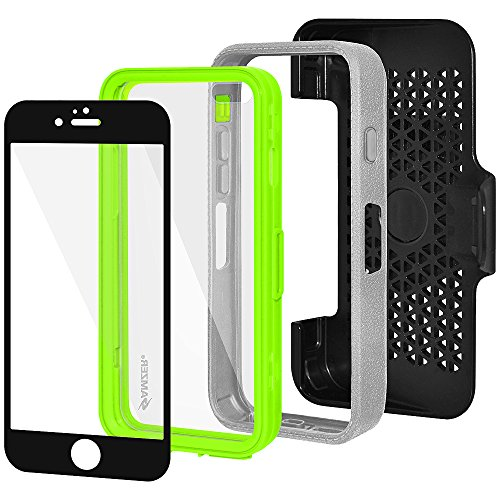 Amzer Crusta edge2edge Rugged Shell Case Cover mit Tempered Glas und Holster für iPhone 6 schwarz/Space Grey _ P Grau /Grün