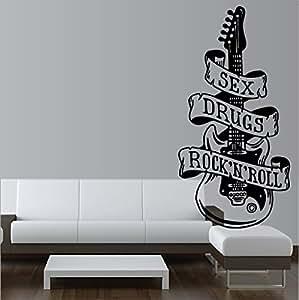 """Rock """"sEX drugs & n'roll sticker mural autocollant mural-dimensions :  env. 110 cm - 1 couleurs de noël sur tout flächent lisses, impression sans arrière-plan, convient pour toutes les surfaces lisses, voiture, vitres, peinture mur, qualité professionnelle-nombreux coloris disponibles"""
