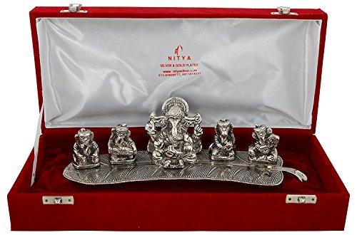 Exclusive Designer With Device Aluminium Silver Plated Musical Ganesha Oxidized with Velvet Box