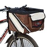 Cipway Haustier Fahrradkorb Hunde Katzen Fahrrad Tasche Reisetasche für Kleine Haustiere (Braun)