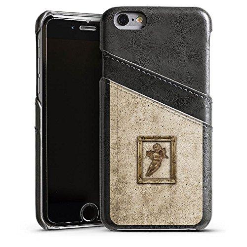 Apple iPhone 4 Housse Étui Silicone Coque Protection Ange Canne Tableau Étui en cuir gris