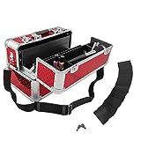 anndora Beauty Case Kosmetikkoffer Schmuckkoffer 21 Liter - Aluminium Rot Raute -