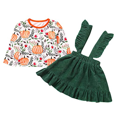 Kerl Kostüm Halloween Top - Cuteelf Mädchen Set Langarm Halloween Kürbis Print T-Shirt Top + Solid Color Rüschen Riemen Rock Zweiteiler Kind Baby Mädchen Halloween Kürbis T-Shirt Top Sling Kleid Set