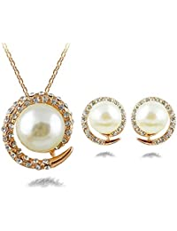 Silver Shoppee Circle Of Hopes 18K Yellow Gold Plated Cubic Zirconia And Pearl Studded Alloy Pendant Set For Girls...