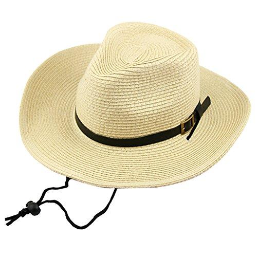 Casquette Chapeau Bonnet en Paille Cow-boy Mode Western Costume - Beige, Adulte