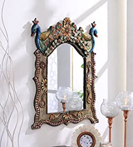 999Store Wooden Royal Antique Vintage Hand Crafted Handmade Hand Painted Peacock Decorative Wall Mirror