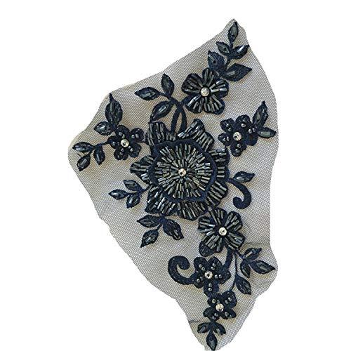 Blumenapplikation mit Blumenapplikation in 7 Farben, mit Strasssteinen, zum Annähen auf Braut- / Hochzeits- / Tutu-Kleid, 1 Stück, navy, 7.6