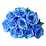 TAOtTAO 1 Bouquet Vintage Lover artificielles Rose Soie Bouquet Décoration, Bleu, Approx 5cm,7.5cm,10cm