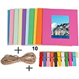 10 Pcs Colorful Hanging Photo Frame With Colorful Wooden Clips And Rope (Outer Size 9 * 9.5 Cm , Inner Size 4.5 * 6 Cm)