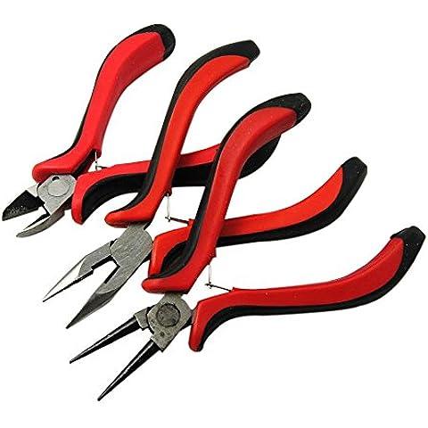 PandaHall-Joyas de acero al carbono de los alicates de acero al carbono Conjuntos alicates de la joyería, ferroníquel, nariz redonda, laterales de corte Alicates y cortadores de alambre, rojas, 110 ~ ~ 130x45 80mmSets, ferroníquel, punta redonda, Side corte Alicates y cortadores de alambre, Rojo, 110 ~ ~ 80mm