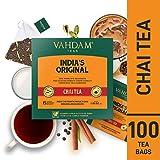 VAHDAM, bustine di tè originali Masala Chai dell'India, 100 bustine di tè, 100% spezie naturali e - Blended e confezionato in India - Tè nero, cardamomo, cannella, pepe nero e chiodi di garofano