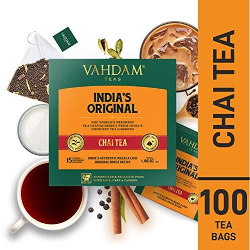 VAHDAM, India's Original Masala Chai Tea Bags, 100 Tea Bags, 100% Natural Spices & NO Added FLAVOURING - Blended & Packed in India - Black Tea, Cardamom, Cinnamon, Black Pepper & Clove