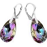 ROYAL CRYSTALS Ohrringe mit Klappbügel-Verschluss Sterling-Silber 925 Violetter Swarovski-Amethyst in Tropfenform
