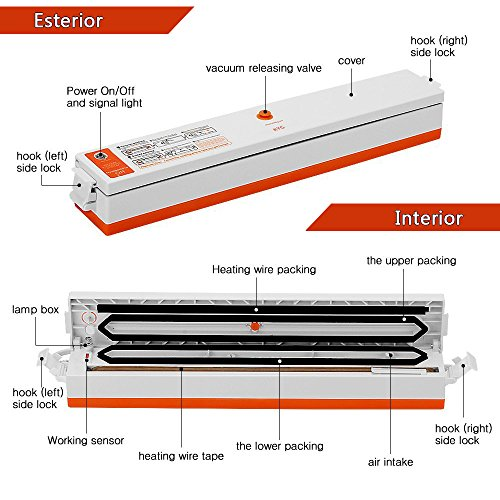 Envasadora al Vacío de Cocina 100W Selladora al Vacío Eléctrico para Conservación de Alimentos Máquina de Vacío de KYG 15 Bolsas de Envasado Gratis