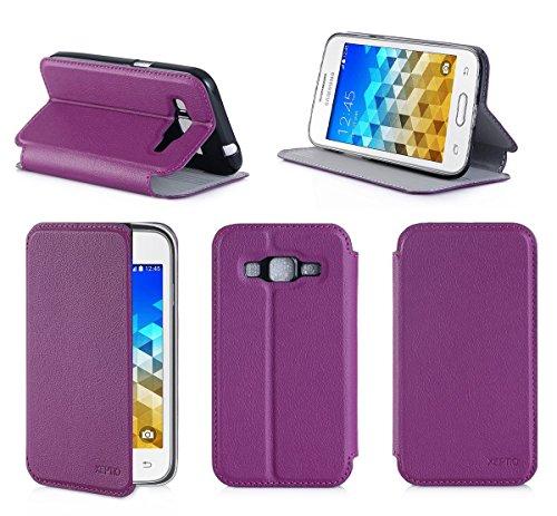 Porpora Custodia Pelle Ultra Slim per Samsung Galaxy Trend 2 Lite Smartphone - Flip Case Funda Cover Protettiva Samsung Galaxy Trend 2 Lite (PU Pelle - Viola Purple) - XEPTIO Accessori