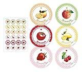 24 STICKER : Süße Aufkleber in gemischten Farben, ROSA, GELB, GRÜN, ROT, ORANGE mit Punkten, Herz und liebevoll illustrierten Orangen
