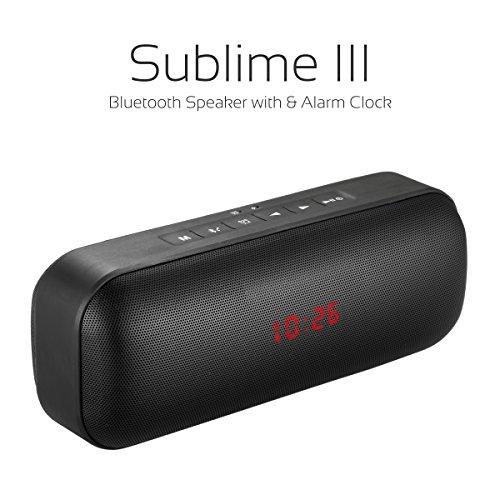 Portronics POR-622 Sublime III Portable Bluetooth Speaker with Alaram Clock (Black)