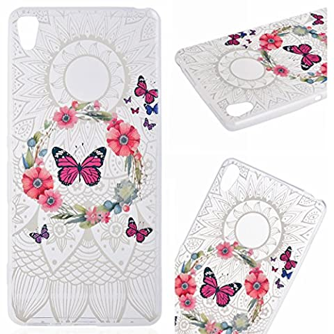 GrandEver Soft Bumper Case for Sony Xperia XA Silicone TPU Back Cover Transparent Clear Cover Butterfly Garland Pattern Cases Covers Anti-slip Cover Cell Phone Accessory Kits Scratch-Proof Protective Shell for Sony Xperia XA
